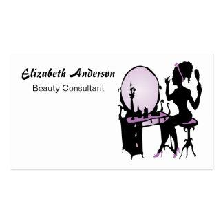 Salón de pelo negro púrpura elegante del consultor tarjetas de visita