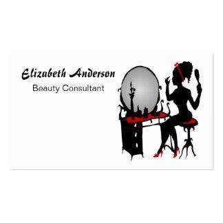 Salón de pelo negro rojo con clase del consultor d plantillas de tarjeta de negocio