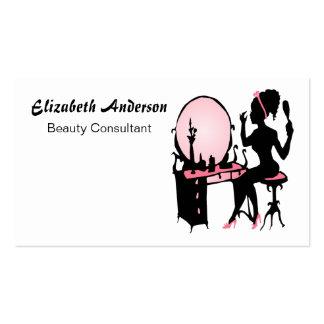 Salón de pelo negro rosado femenino del consultor  tarjetas personales