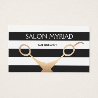 Salón de pelo rayado blanco y negro de las tijeras tarjeta de visita