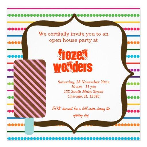 Salón del helado de la casa abierta invitaciones personales