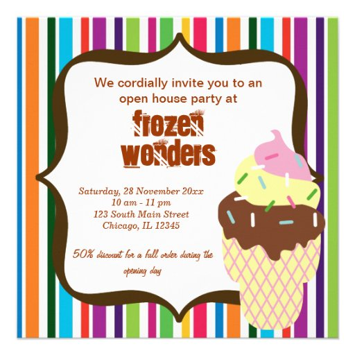Salón del helado de la casa abierta anuncios personalizados