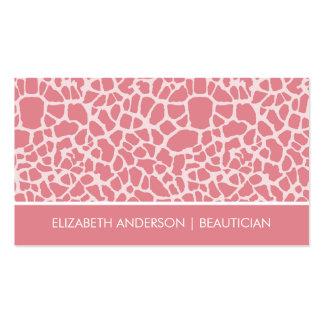 Salón rosado elegante del estampado de animales de tarjetas de visita