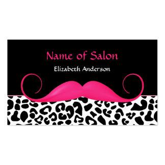 Salón rosado y negro del bigote femenino del leopa tarjeta de visita