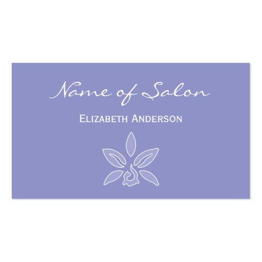 Salón simple y elegante en la lavanda violeta flor plantilla de tarjeta de visita