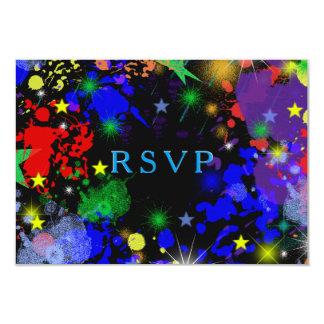 Salpicadura de neón de la pintura, Paintball, Invitación 8,9 X 12,7 Cm