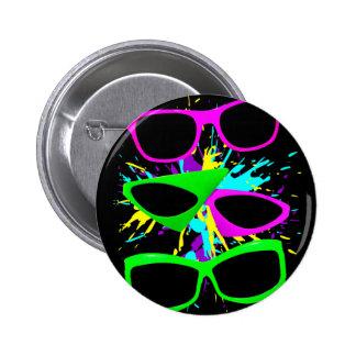 Salpicadura de neón de las gafas de sol del vintag chapa redonda 5 cm