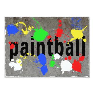 Salpicadura de Paintball en el muro de cemento Invitación 12,7 X 17,8 Cm
