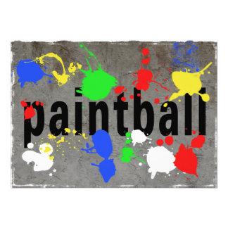Salpicadura de Paintball en el muro de cemento Invitacion Personalizada