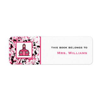 Salpicadura negra y rosada del Bookplate del profe Etiqueta De Remitente