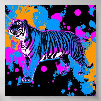 Salpicadura retra de la pintura del tigre del tigr posters