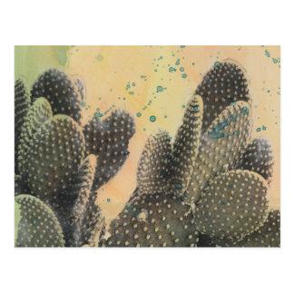 Salpicadura verde del cactus el | del desierto postal