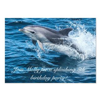 Salpicar invitaciones del cumpleaños del delfín invitación 12,7 x 17,8 cm