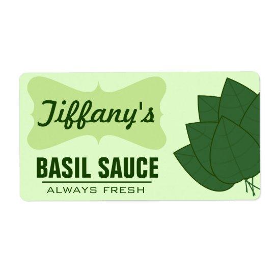 Salsa orgánica natural de la albahaca etiquetas de envío