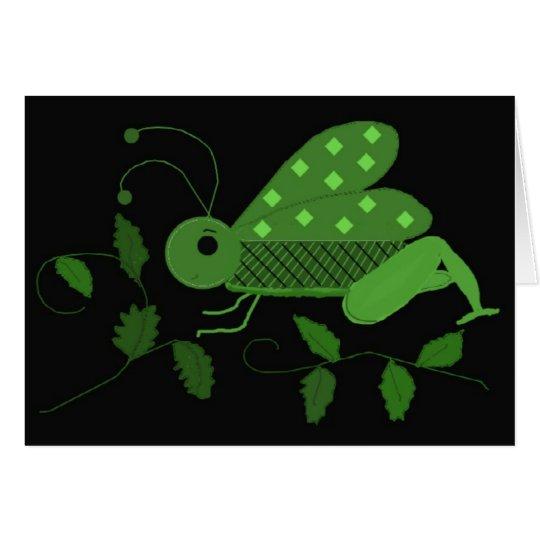 Saltamontes verde tarjeta pequeña
