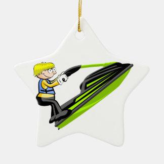 Saltando en jet ski adorno de cerámica