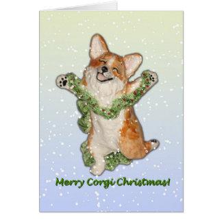 """Salte para feliz tarjeta de Navidad del Corgi de"