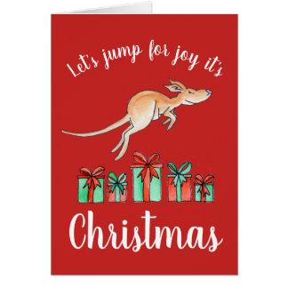 Salto australiano para la tarjeta de Navidad del