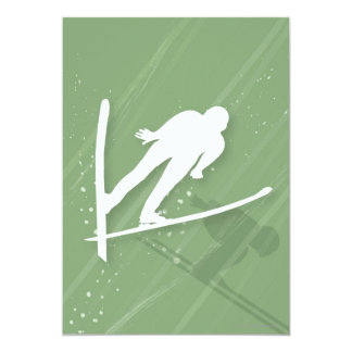 Salto de esquí de dos hombres invitacion personal