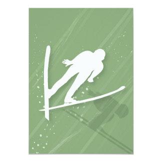 Salto de esquí de dos hombres invitación 12,7 x 17,8 cm