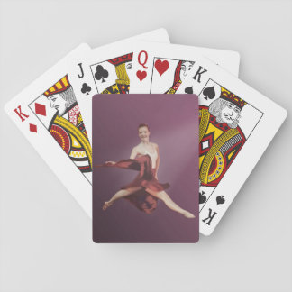 Salto de la bailarina en rojo, personalizable naipes