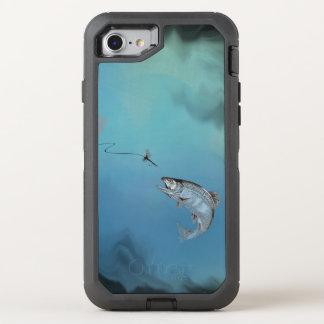 Salto de la pesca con mosca de la trucha en el funda OtterBox defender para iPhone 8/7