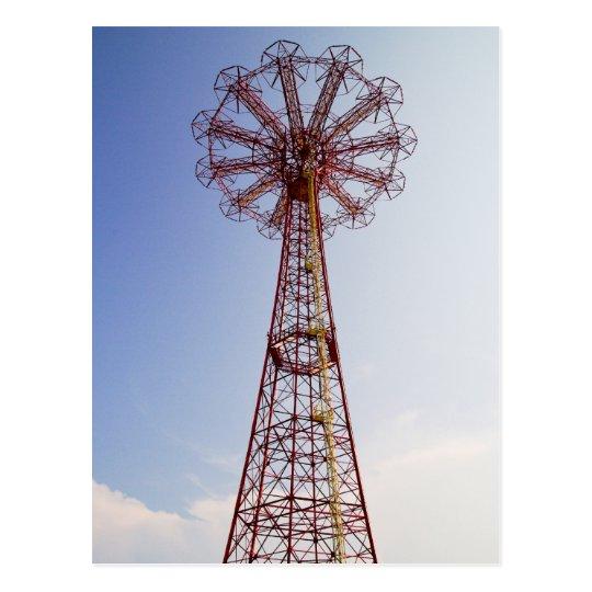 Salto de paracaídas - Coney Island, postal de NYC