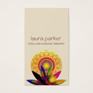 Salud curativa de la yoga del logotipo de la flor tarjeta de negocios