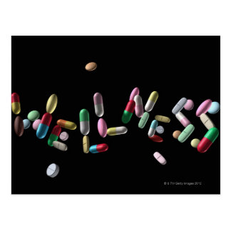 """""""SALUD"""" escrita con las píldoras Postal"""