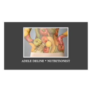 Salud gris elegante de la dieta del nutricionista tarjetas de visita
