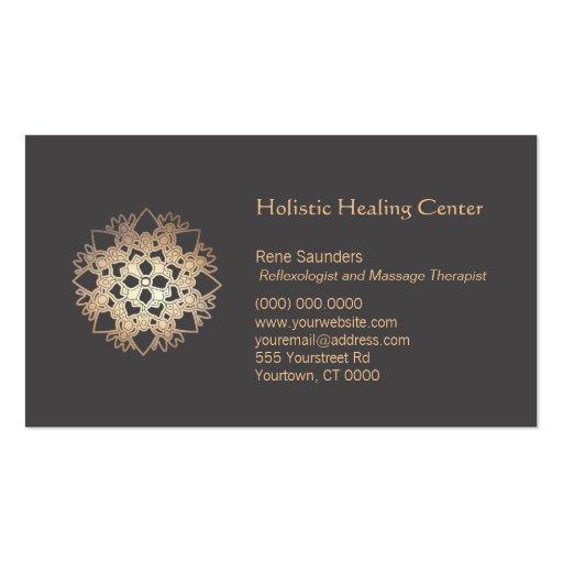 Salud holística de Lotus del oro y artes curativos Plantillas De Tarjetas Personales
