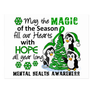 Salud mental de los pingüinos del navidad postal