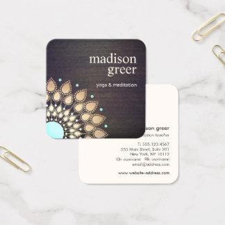 Salud natural de madera de la mandala floral de tarjeta de visita cuadrada