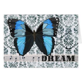 Saludo azul del sueño de la mariposa tarjeta de felicitación