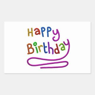 Saludo colorido del feliz cumpleaños pegatina rectangular