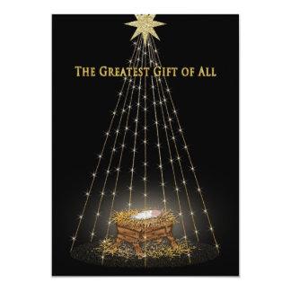 Saludo cristiano del pesebre del navidad invitación 12,7 x 17,8 cm