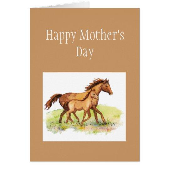 Saludo de encargo, el día de madre, caballo, potro tarjeta de felicitación