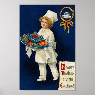 Saludo de la acción de gracias del vintage póster