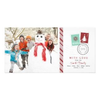 Saludo de la foto de familia del día de fiesta del tarjetas fotograficas personalizadas