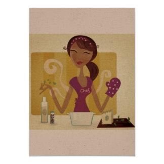 Saludo de papel: con el chica del cocinero invitación 12,7 x 17,8 cm