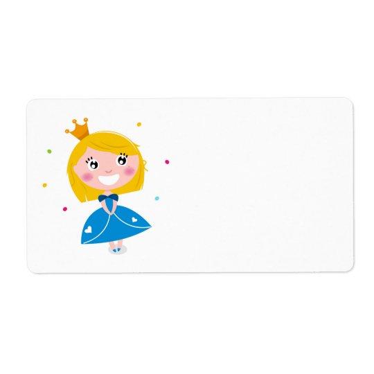 Saludo de papel con la princesa azul etiqueta de envío
