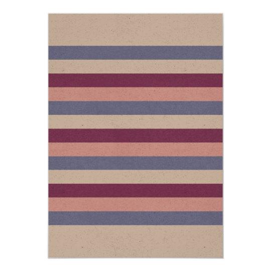 Saludo de papel con las rayas invitación 12,7 x 17,8 cm
