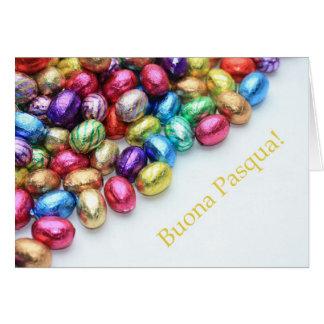 Saludo de pascua del italiano de los huevos de cho tarjeta de felicitación