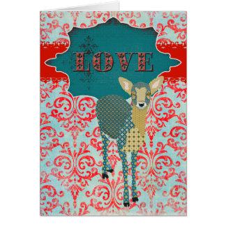 Saludo del amor del cervatillo del oro tarjeta de felicitación