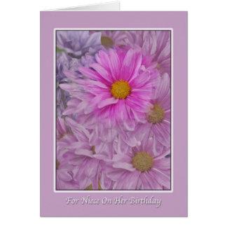 Saludo del cumpleaños de la sobrina, margaritas tarjeta de felicitación