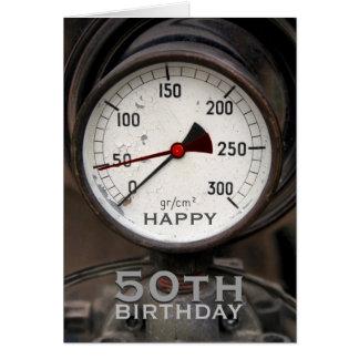 Saludo del cumpleaños del manómetro viejo de tarjeta de felicitación