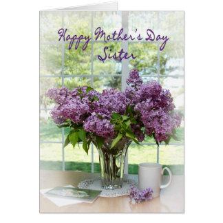 Saludo del día de madre - hermana - lilas felicitaciones