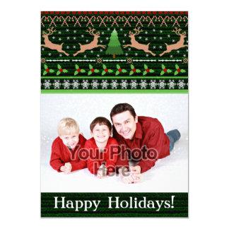 Saludo divertido de la foto del suéter del navidad invitación 12,7 x 17,8 cm