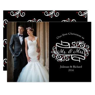 Saludo elegante moderno de la foto del navidad del invitación 12,7 x 17,8 cm