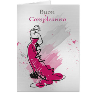 Saludo italiano del cumpleaños con la hembra en un tarjeta de felicitación